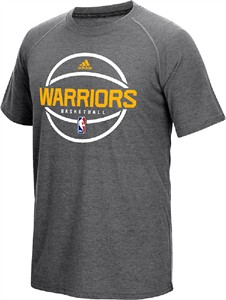 Golden State Warriors Adidas Slimmer Fit On-Court Grey Pre-Game Ultimate Synthetic Short Sleeve T Shirt