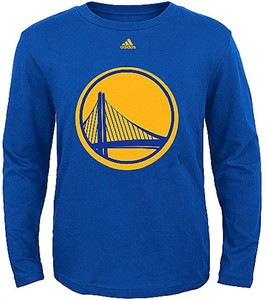 Golden State Warriors Royal Big Time Logo Long Sleeve T Shirt by Adidas