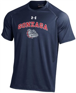 Gonzaga Bulldogs Blue Hi-Tech Under Armour Short Sleeve Heatgear T Shirt