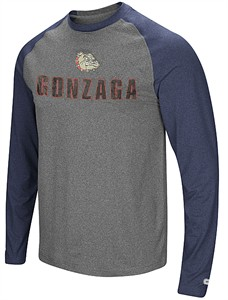 Gonzaga Bulldogs Mens Grey Social Skills Synthetic Long Sleeve Raglan T Shirt