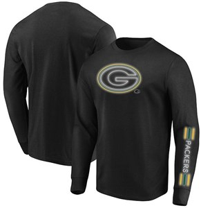 Green Bay Packers Black Startling Success Long Sleeve Tee Shirt by Majestic