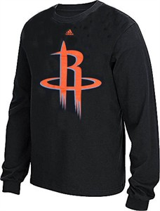 new concept 57784 623f8 Houston Rockets Adidas Black Huge Preferred Logo Long Sleeve ...