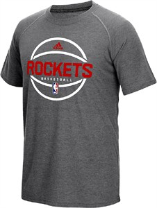 Houston Rockets Adidas Slim Fit On-Court Dark Grey Pre-Game Ultimate Synthetic Short Sleeve T Shirt