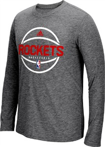Houston Rockets Adidas Slim Fit On-Court Dark Grey Pre-Game Ultimate Synthetic Long Sleeve T Shirt