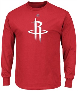 Houston Rockets Mens Red Majestic Logo 2 Long Sleeve T Shirt