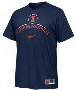 Illinois Fighting Illini Blue Team Issued 2 Sided Short Sleeve Practice T Shirt By Nike Team Sports