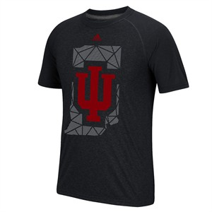 Indiana Hoosiers Black Geometric Climalite Short Sleeve Shirt by Adidas