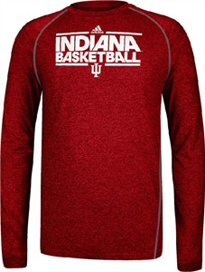 Indiana Hoosiers Heather Red Dribbler Long Sleeve Climalite Basketball Practice Shirt by Adidas