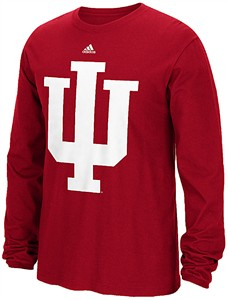 Indiana Hoosiers Varsity Red Adidas Huge Preferred Logo Long Sleeve T Shirt