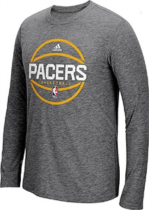 Indiana Pacers Adidas Slimmer Fit On-Court Dark Grey Pre-Game Ultimate Synthetic Long Sleeve T Shirt