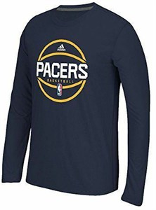 Indiana Pacers Adidas Slimmer Fit On-Court Dark Navy Pre-Game Ultimate Synthetic Long Sleeve T Shirt