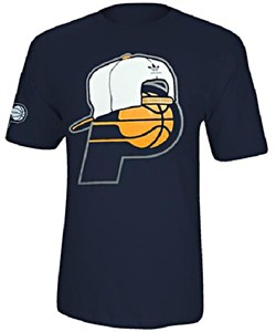 Indiana Pacers Blue Snap Back Logo Tee Shirt by Adidas