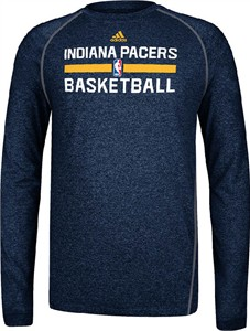 Indiana Pacers Heather Navy Climalite Practice Long Sleeve Shirt by Adidas