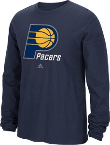 Indiana Pacers Navy Primary Logo Long Sleeve Tee Shirt by Adidas