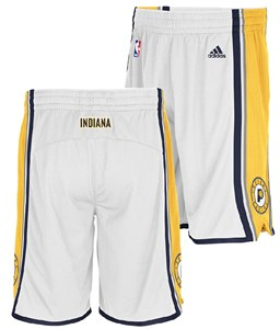 Indiana Pacers White Embroidered Swingman Shorts By Adidas