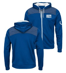 Indianapolis Colts Mens Royal Game Elite Full Zip Synthetic Poly Hoodie Sweatshirt