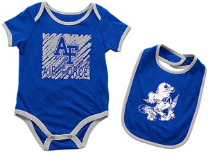 Infant Air Force Falcons Royal Look At The Baby Onesie and Bib Set on Sale