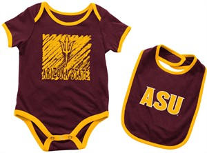 Infant Arizona State Sun Devils Maroon Look At The Baby Onesie and Bib Set