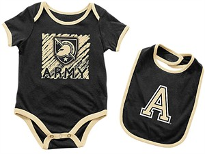 Infant Army Black Knights Black Look At The Baby Onesie and Bib Set