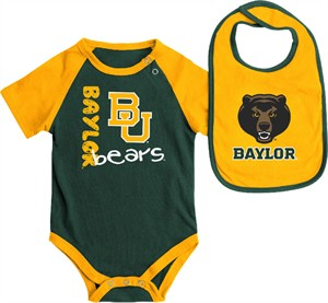 Infant Baylor Bears Green Rookie Onesie and Bib Set