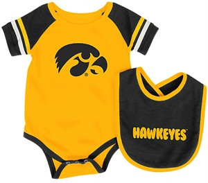 Infant Iowa Hawkeyes Gold Roll Out Onesie and Bib Set