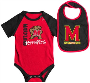 Infant Maryland Terrapins Red Rookie Onesie and Bib Set