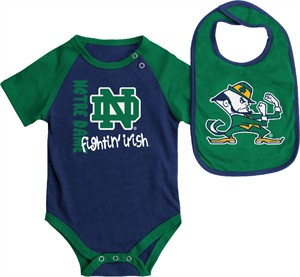 Infant Notre Dame Fighting Irish Blue Rookie Onesie and Bib Set
