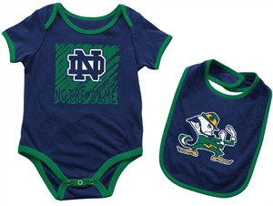 Infant Notre Dame Fighting Irish Navy Look At The Baby Onesie and Bib Set