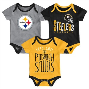 Infant Pittsburgh Steelers Little Tailgater 3 Pack Bodysuit Creeper Set