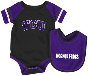 Infant TCU Horned Frogs Black Roll Out Onesie and Bib Set