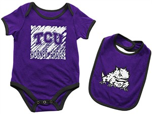Infant TCU Horned Frogs Purple Look At The Baby Onesie and Bib Set