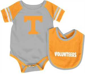 Infant Tennessee Volunteers Grey Roll Out Onesie and Bib Set