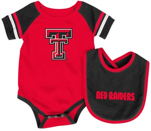 Infant Texas Tech Red Raiders Red Roll Out Onesie and Bib Set