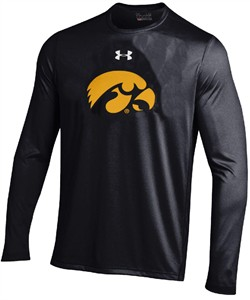 Iowa Hawkeyes Black Under Armour Poly Dry Mascot HeatGear Nu Tech Long Sleeve Shirt