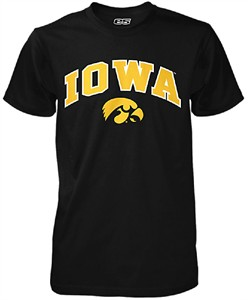 Iowa Hawkeyes Mens Black Modern-Fit Single Short Sleeve T Shirt