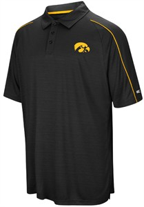 Iowa Hawkeyes Mens Black Setter Synthetic Poly Polo Shirt