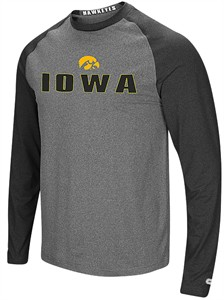 Iowa Hawkeyes Mens Grey Social Skills Synthetic Long Sleeve Raglan T Shirt