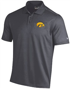Iowa Hawkeyes Mens Grey Under Armour Performance Polo Shirt