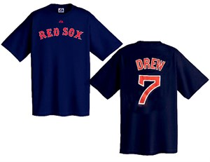 J. D. Drew Boston Red Sox 2-Sided MLB Short Sleeve Tee Shirt By Majestic