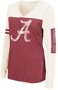Juniors Alabama Crimson Tide Ladies Crimson V Neck Long Sleeve Whatevs T Shirt