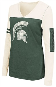 Juniors Michigan State Spartans Ladies Green V Neck Long Sleeve Whatevs T Shirt