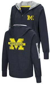 Juniors Michigan Wolverines Blue Platform Fleece Full-Zip Embroidered Hoodie Sweatshirt