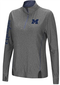 Juniors Michigan Wolverines Charcoal Slim Fit Vizzini 1/4 Zip Synthetic Wind Shirt
