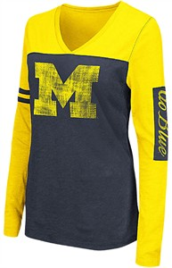 Michigan Wolverines Ladies Blue V Neck Long Sleeve Whatevs T Shirt