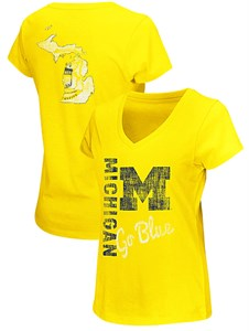 Juniors Michigan Wolverines Maize Ladies V Neck Short Sleeve Yemen T Shirt