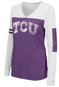 Juniors TCU Horned Frogs Ladies Purple V Neck Long Sleeve Whatevs T Shirt
