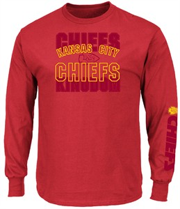 Kansas City Chiefs  Mens Red Primary Receiver 3 Long Sleeve T Shirt