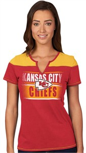 Kansas City Chiefs Ladies Majestic Football Miracle Notch Neck T Shirt