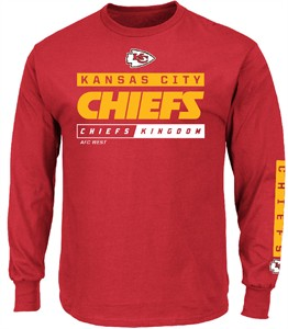 Kansas City Chiefs Red Primary Receiver 2 Long Sleeve Football Tee Shirt