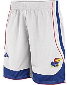 "Kansas Jayhawks 10"" White Replica Basketball Shorts by Adidas"
